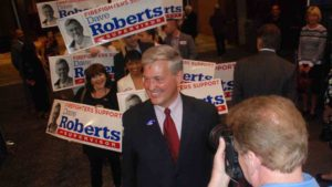 Dave Roberts arrives at Election Central in downtown San Diego. Photo by Ken Stone