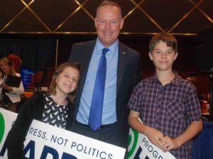 Mayoral candidate Ed Harris with his two children, Morgan and Brian. Photo by Ken Stone