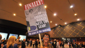 Ashley Gardner of Women's Museum of California celebrates at Election Central in downtown San Diego. Photo by Chris Stone