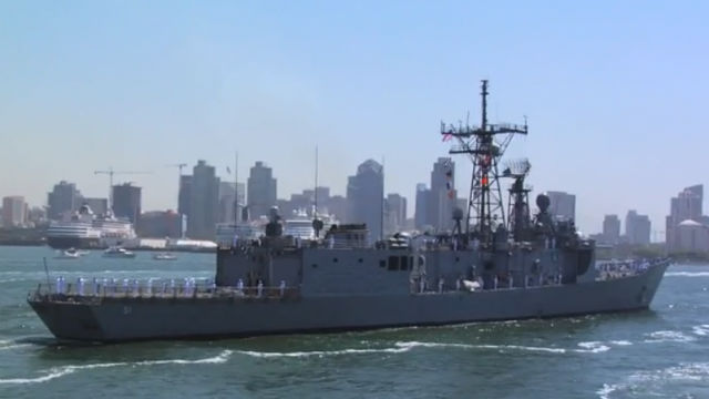 A destroyer transits San Diego Bay in an earlier Fleet Week parade of ships. Courtesy Fleet Week Foundation