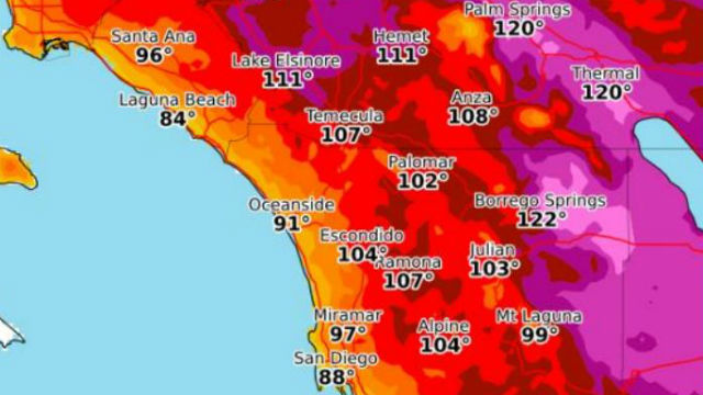 national weather service map shows maximum temperatures forecast for monday