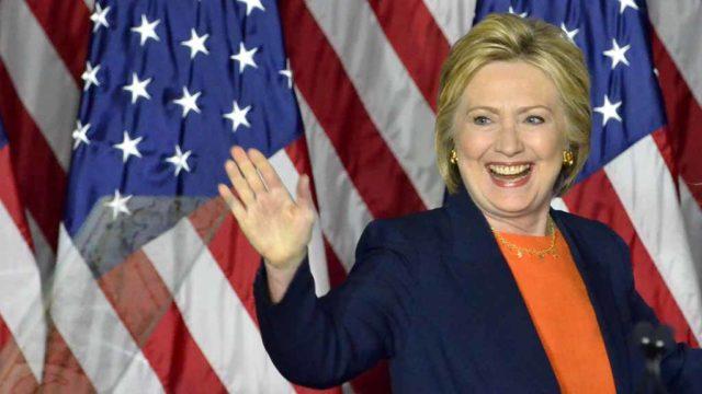 Hillary Clinton speaks in Balboa Park. Photo by Chris Stone