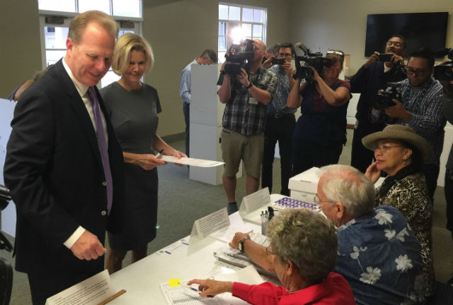 Mayor Kevin Faulconer and his wife Katherine voting Point Loma Community Presbyterian Church. Courtesy Faulconer's campaign