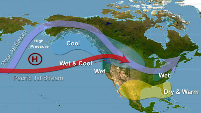 Weather Service diagram shows how La Nina affects weather in North America.