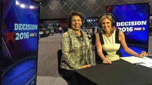 Lori Saldaña with Fox 5 interviewer at Golden Hall. Photo via Facebook