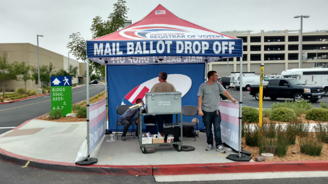 The mail ballot drop off booth at the San Diego Registrar of Voters. Photo by Chris Jennewein