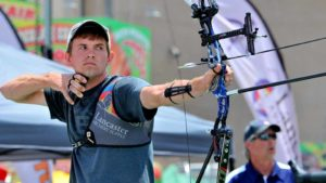 London Olympian Jacob Wukie lets fly an arrow during the SoCal Showdown. Photo by Chris Stone