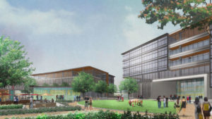 Office buildings in the revised plan for One Paseo in Carmel Valley.