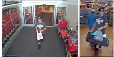 A man suspected of stealing credit cards leaves Target. Courtesy of San Diego County Crime Stoppers
