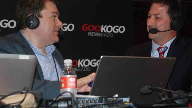 District 3 City Council candidate Chris Ward (right) is interviewed by KOGO's Carl DeMaio, the former councilman. Photo by Ken Stone