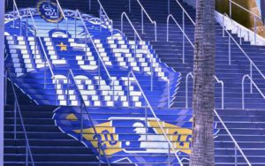 Petco Park stairs were decorated for the All-Star Game. Photo by Chris Stone
