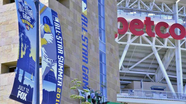 Banners boast All-Star Game at Petco Park. Photo by Chris Stone
