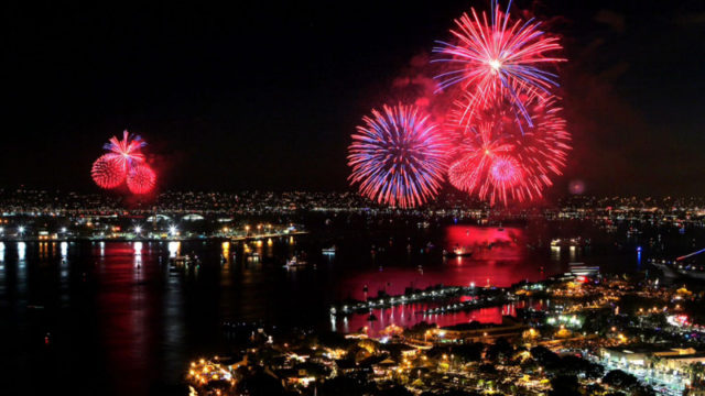 Fireworks light up the downtown San Diego waterfront, Courtesy Port of San Diego