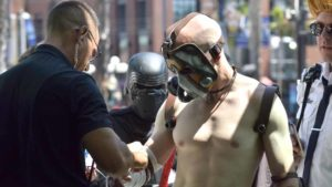 """Damian Lance of San Francisco has his character """"weapons"""" checked by security as he enters Comic-Con. Photo by Chris Stone"""