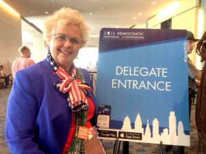 San Diego County Democratic Party Chairwoman Francine Busby at the Philadelphia convention. Photo by Chris Stone