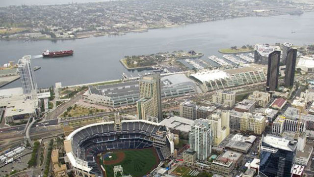 The Garden State passes by Petco Park on the way out to sea for tests earlier in July.