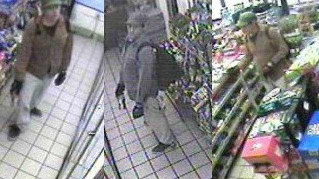 Surveillance camera images of the suspect in the two slayings of homeless men. Courtesy San Diego Police