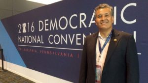 Rep. Juan Vargas of San Diego at Democratic National Convention in Philadelphia. Photo by Chris Stone