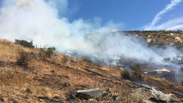 Smoke from the 8-acre fire near Lakeside. Photo courtesy Lakeside Fire Protection District