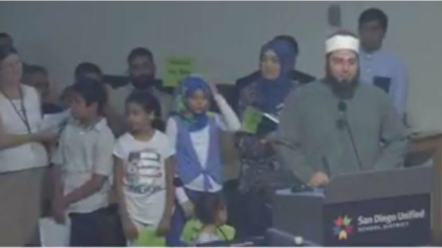 Members of the Muslim community address the school board. Image from SDUSD video