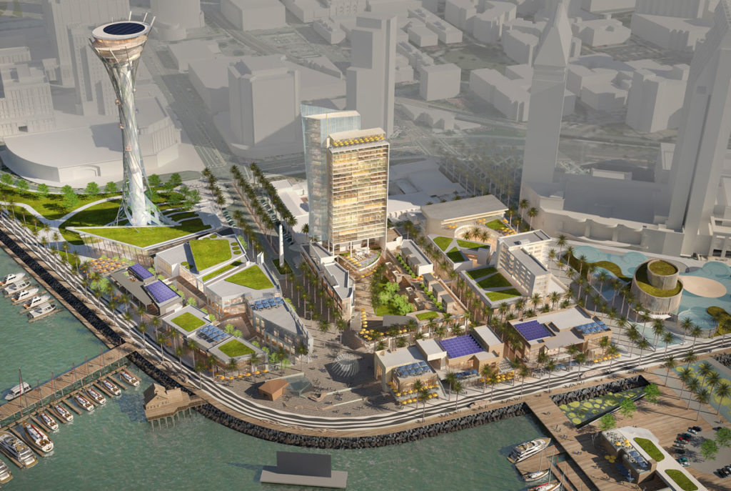 Architect's rendering of Seaport San Diego project with 500-foot spire.