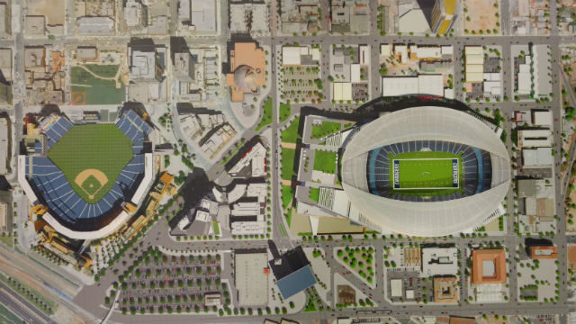 Rendering shows proposed stadium to right of Petco Park in downtown San Diego.