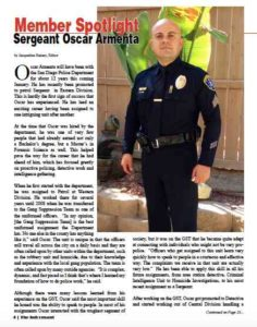 Sgt. Oscar Armenta was profiled in November 2014 issue of labor union newsletter (PDF)