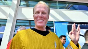 "Mayor Kevin Faulconer flashes Vulcan salute from ""Star Trek."" Photo by Chris Stone"