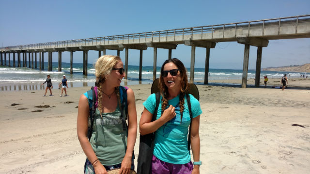 California Coastal Trail hikers Morgan Visalli (left) and Jocelyn Enevoldsen. Photo by Chris Jennewein