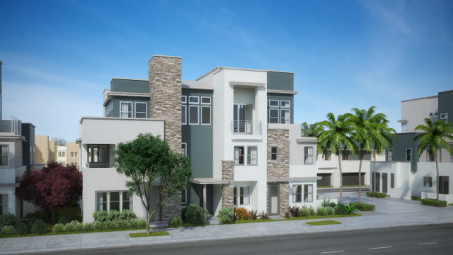 A rendering of the EVO townhomes at Millenia.