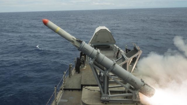 A Harpoon anti-ship missile is fired from the USS Coronado during RIMPAC 16. Navy photo