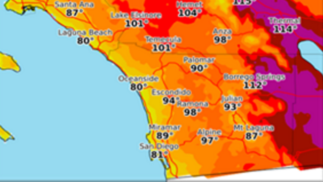 High temperatures away from the coast are forecast at 6 to 12 degrees F above average on Sunday. Photo Credit: NWS
