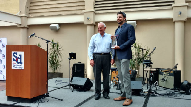 Chamber CEO Jerry Sanders with Sean Ring of Innovative Employee Solutions. Photo by Chris Jennewein