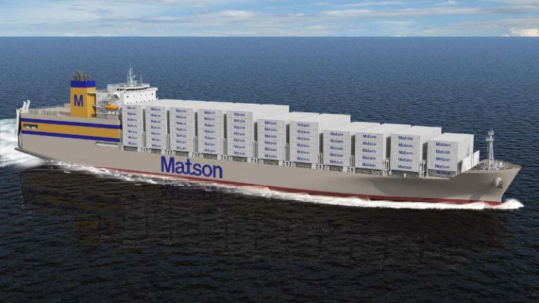 Artist rendering of Matson Kanaloa Class vessel. Image via General Dynamics NASSCO