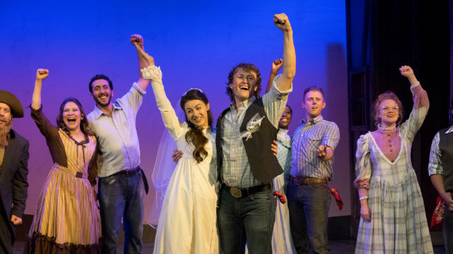 """A scene from """"Oklahoma"""" at New Village Arts in Carlsbad."""