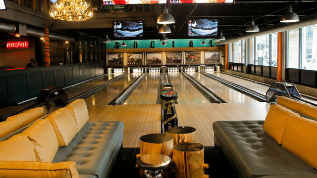 A Punch Bowl Social restaurant and entertainment center in Detroit.