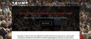 Top of DonaldTrumpSanDiego.com homepage as of Aug. 28, 2016. (PDF)