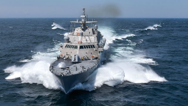 The USS Detroit at sea. Navy photo