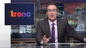 "John Oliver of HBO's ""Last Week Tonight"" mocks tronc, owner of The San Diego Union-Tribune and Los Angeles Times. Photo via YouTube.com"