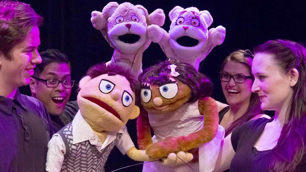 """""""Avenue Q"""" at OB Playhouse features Muppet-like puppets and mature themes. Photo via Pat Launer"""