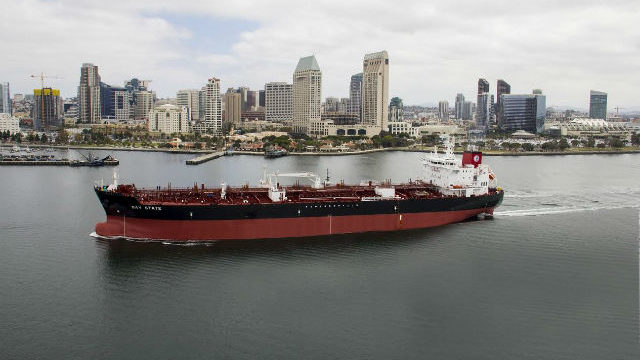 The tanker Bay State off downtown San Diego during sea trials. Courtesy NASSCO