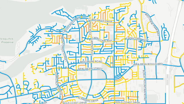 """Website shows conditions of streets in Mira Mesa. Blue is """"good,"""" gold """"fair"""" and orange """"poor."""""""