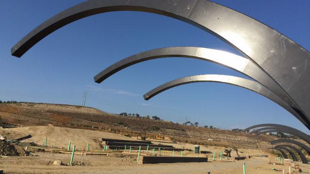 The amphitheater and trellis under construction at Civita Park. Courtesy of Civita