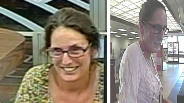 Authorities released surveillance photos in an effort to identify and locate a woman suspected of using convincing counterfeit identification cards to cash checks at banks around San Diego County. Courtesy San Diego Crime Stoppers