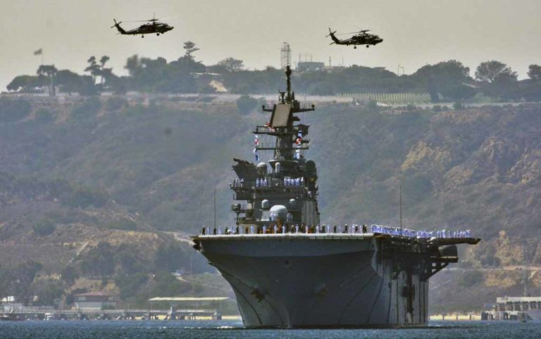 The USS America led the Sea and Air Parade. Photo by Chris Stone