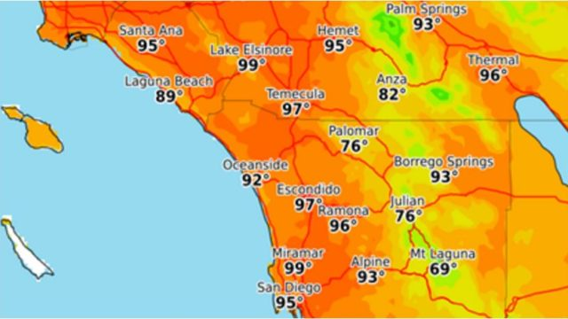 National Weather Service map shows high temperatures forecast for San Diego on Tuesday.