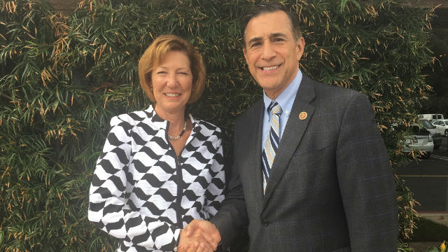 Orange County Sheriff Sandra Hutchens with Rep. Darrell Issa. Courtesy of Issa's office