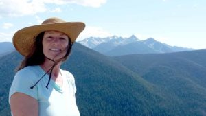 Julie Pendray at end of Pacific Crest Trail — in British Columbia's Manning Park. Photo courtesy of Pendray