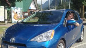 Julie Pendray drove Toyota Prius to the PCT towns, trading ad space on her website for food and lodging. Photo courtesy Pendray