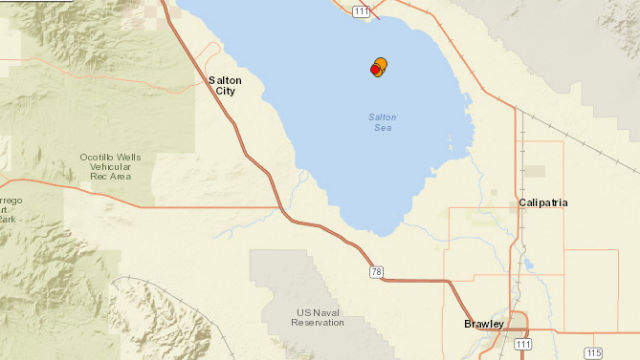 U.S. Geological Survey map shows the location of the quakes beneath the Salton Sea.